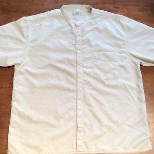 Men's cream TRAVELSMITH silk blend shirt/ size XL